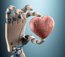 Robotic hand holding heart, illustration