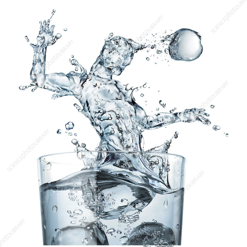 Glass of water and splashes, illustration