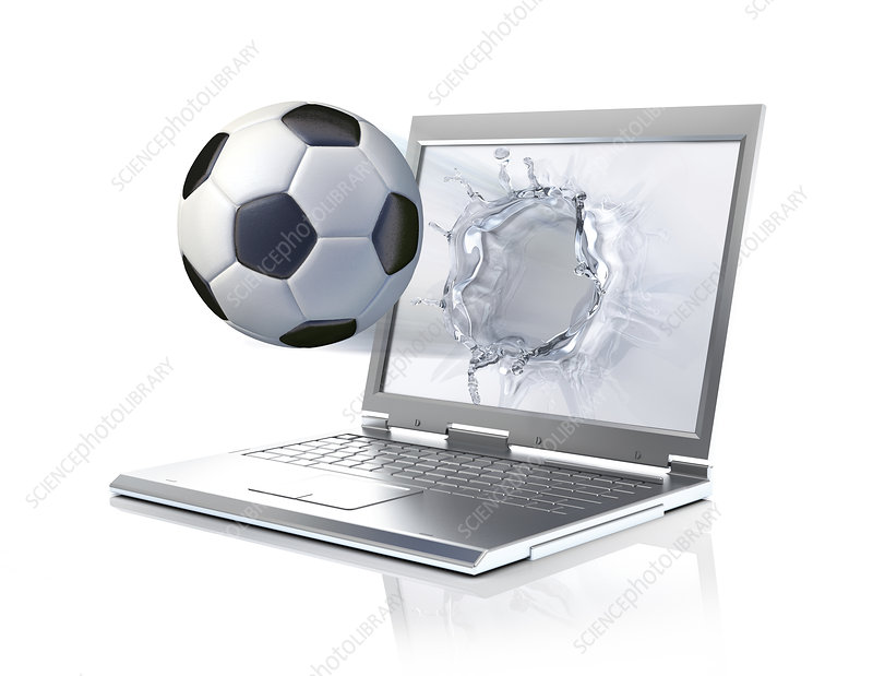 Laptop with football, illustration