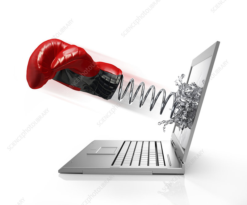 Laptop with boxing glove, illustration