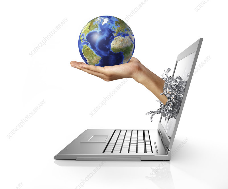 Laptop with hand holding globe