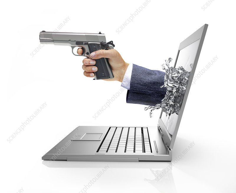 Laptop with hand and gun, illustration