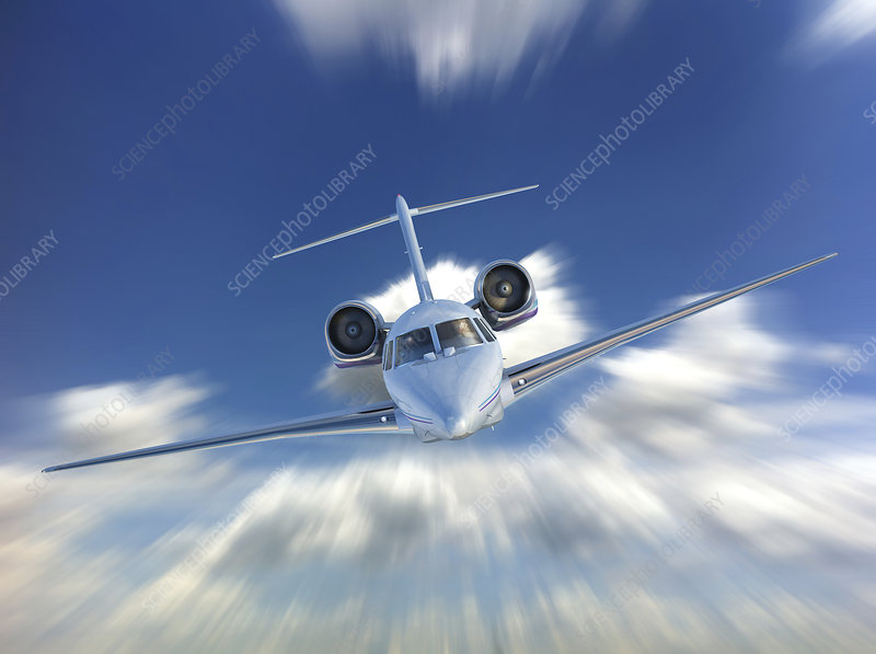 Private jet in the clouds, illustration