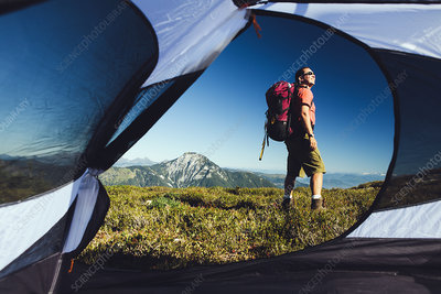 View from inside a camping tent