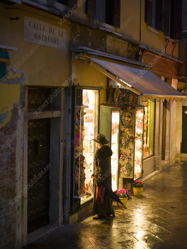 A quiet street at night in Venice