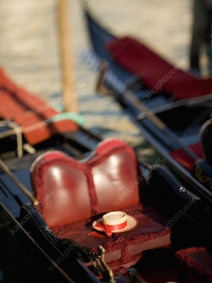Seat of a traditional gondola boat Venice