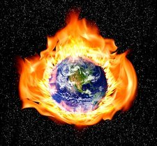 Earth in flames, illustration