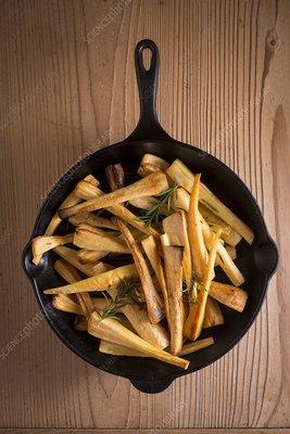 Parsnips in frying pan