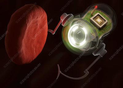 Nanobot and red blood cell, illustration