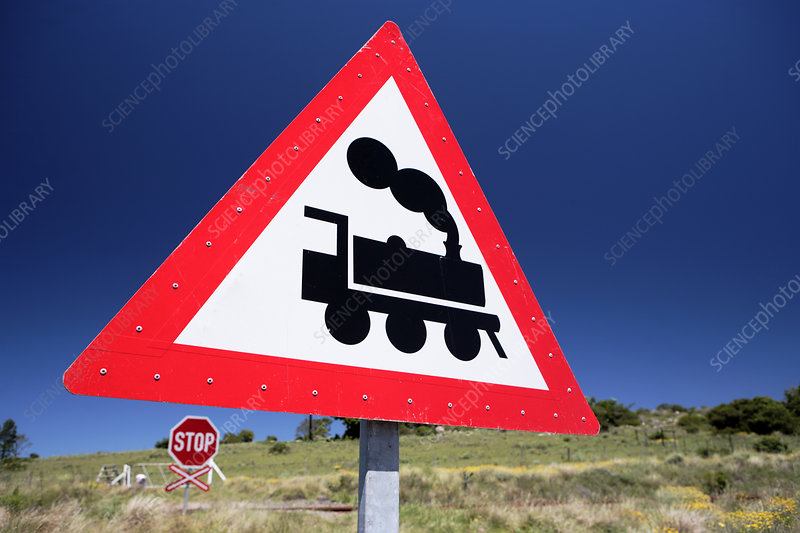 Railway crossing warning sign