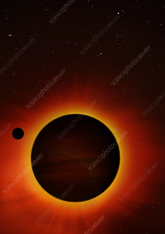 Artwork of exoplanet eclipsing its star