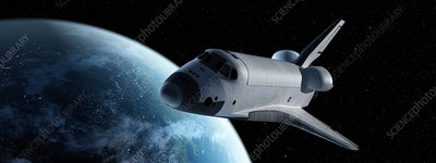 Space shuttle in space, illustration