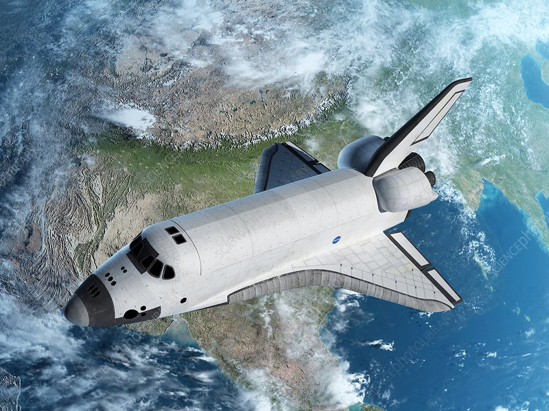 Space shuttle above Earth, illustration