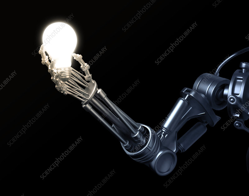 Robotic hand holding a lightbulb