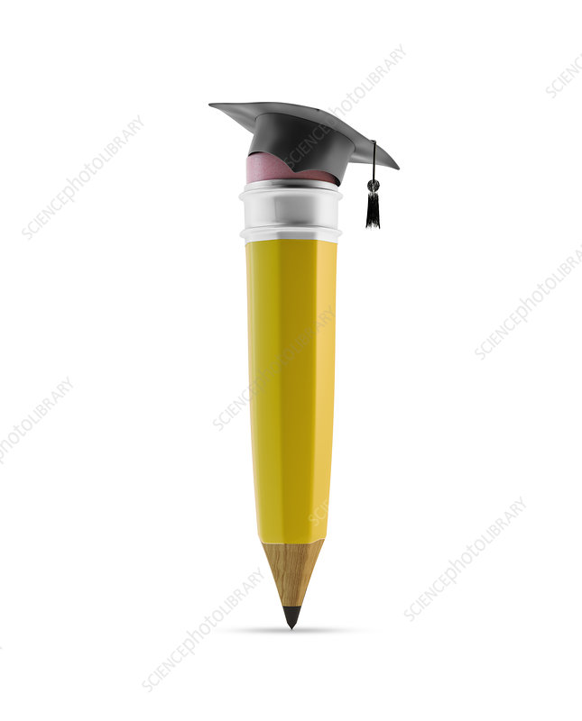 Pencil with graduation cap, illustration
