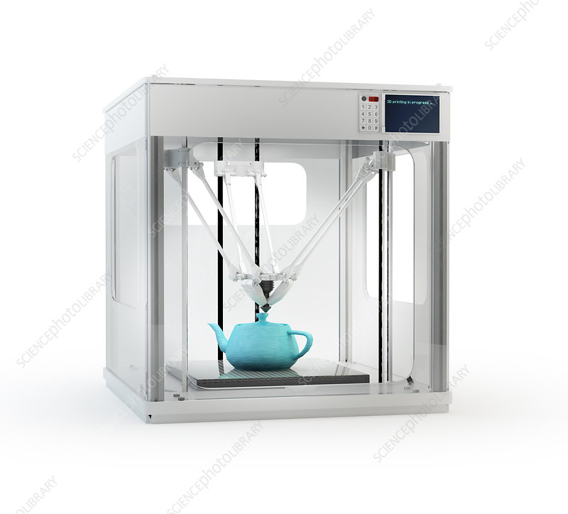 3D printer printing teapot, illustration