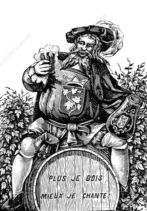 Man drinking beer, illustration