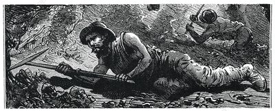 Miners in the pit, illustration