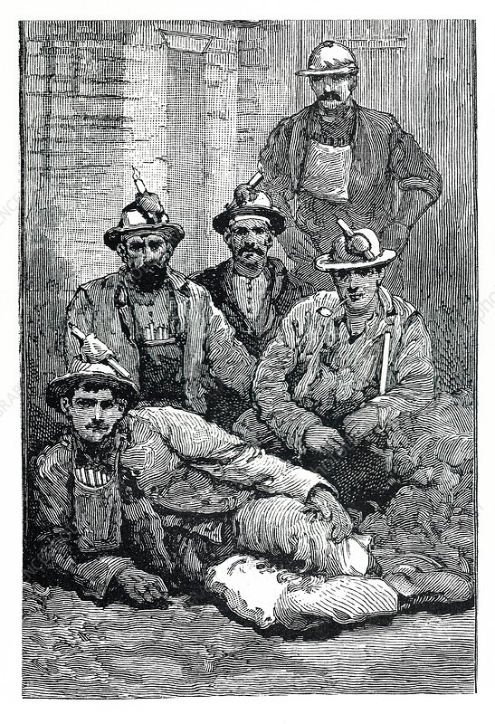 Portrait of miners, illustration