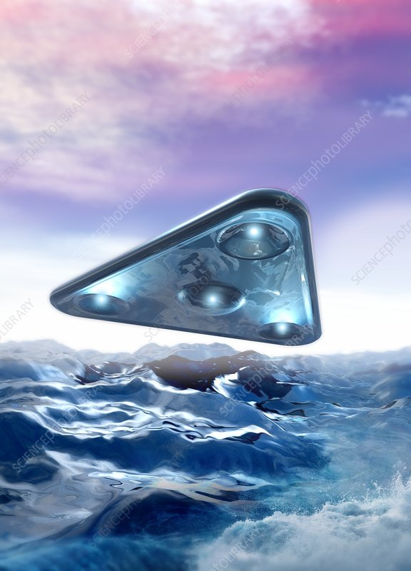 Ufo over the sea, illustration