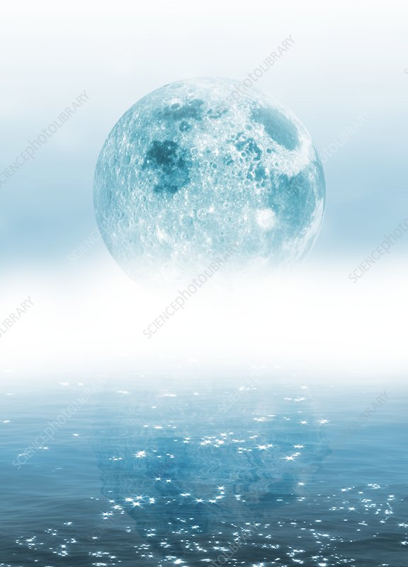 Moon over water, illustration