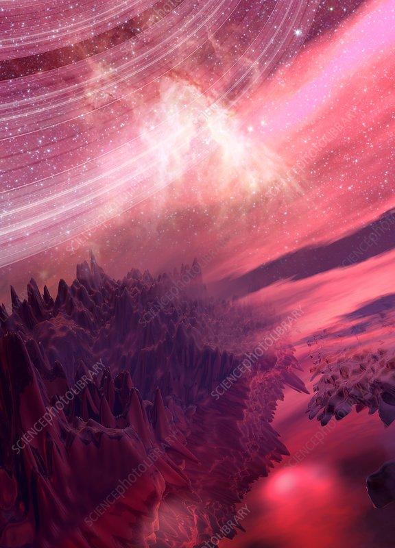Planet scene, illustration