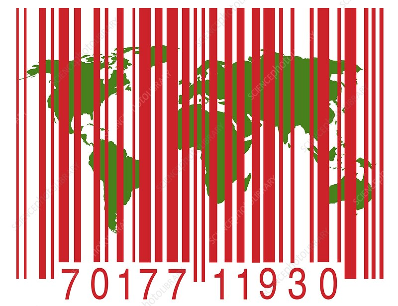 Bar code with the world map