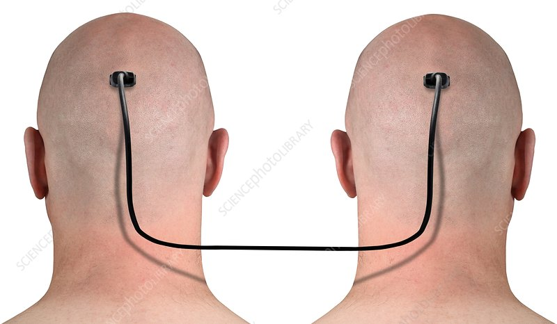 Two heads connected by a wire