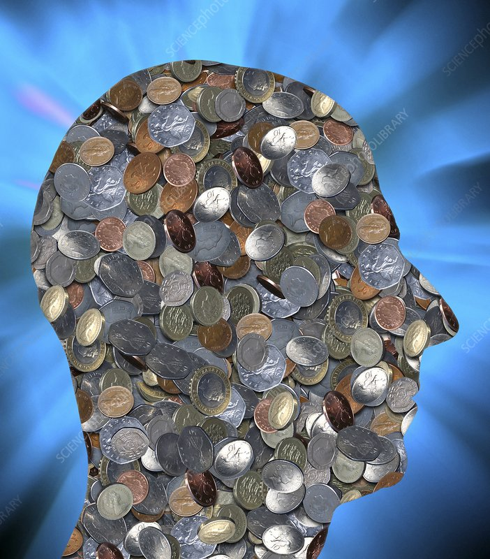 Coins in the shape of a human head