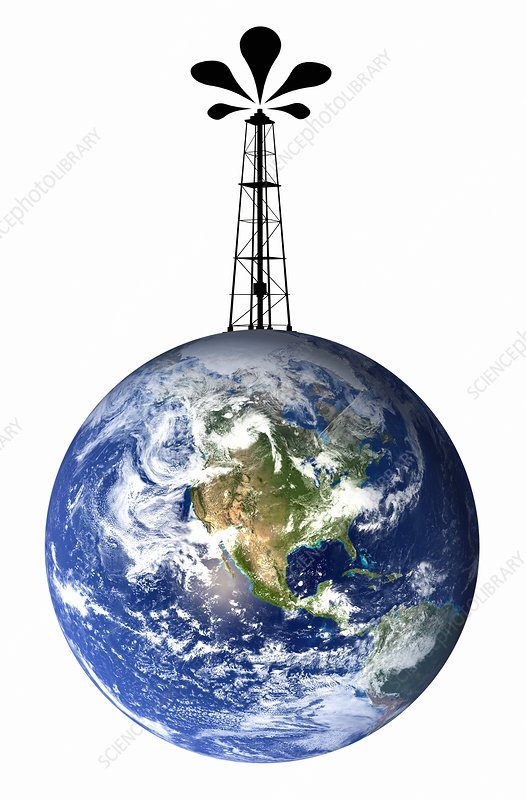 Planet earth with an oil well