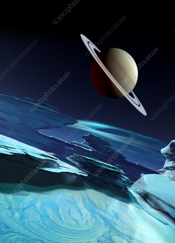 Ice covered moon and planet, illustration