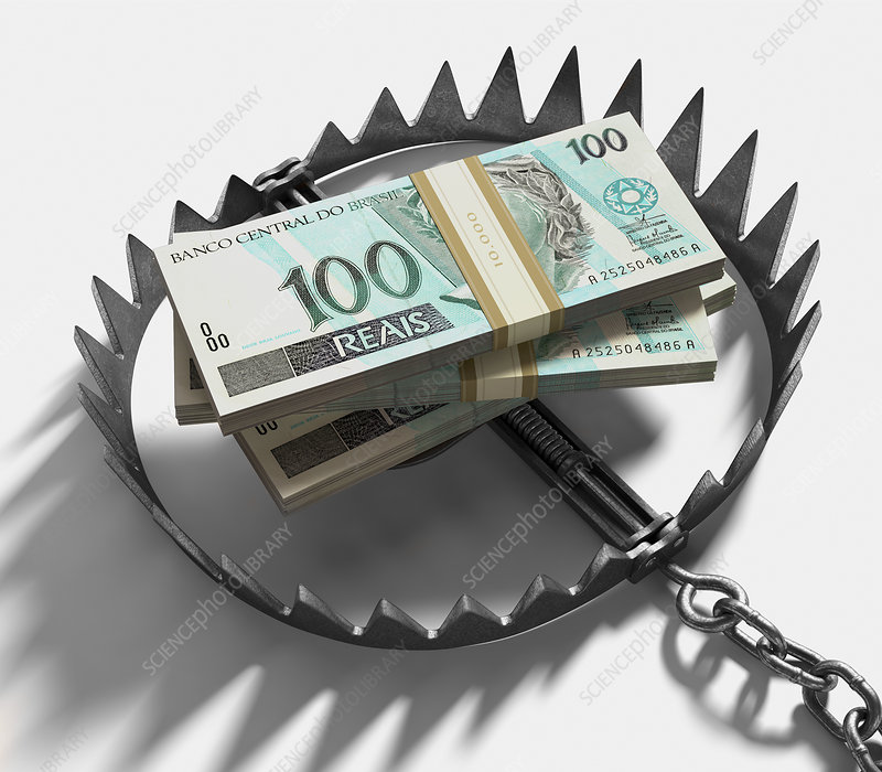 Bear trap with Brazilian real notes
