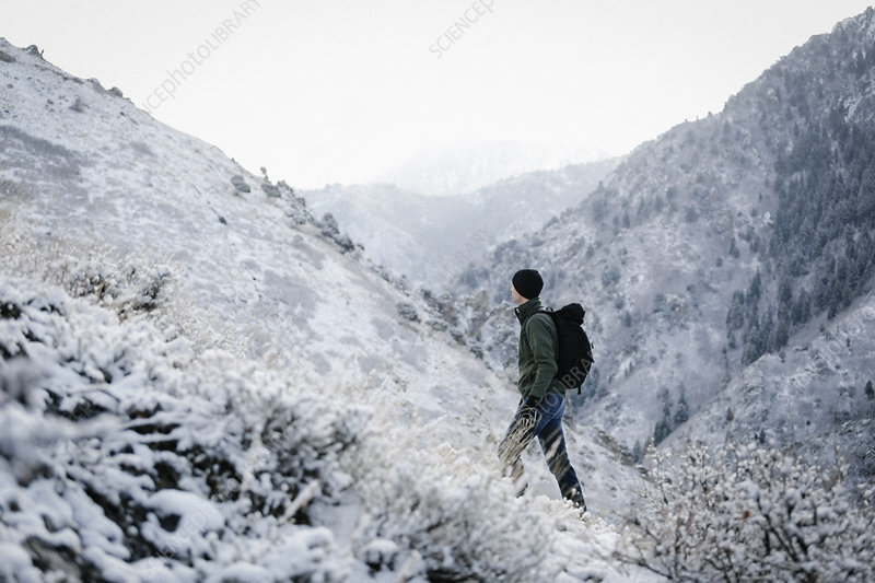A man hiking through the mountains