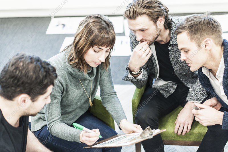 Four people at a meeting