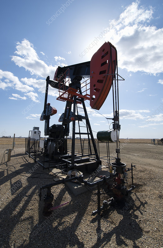 A pump jack at an oil extraction site