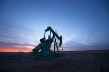 A pumpjack at an oil drilling site