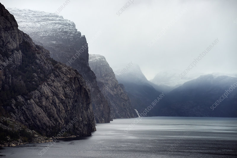 Misty view of Lysefjord, Norway
