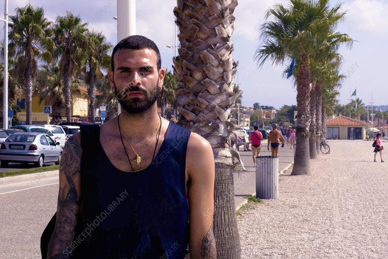 Young man on beach, Marseille, France
