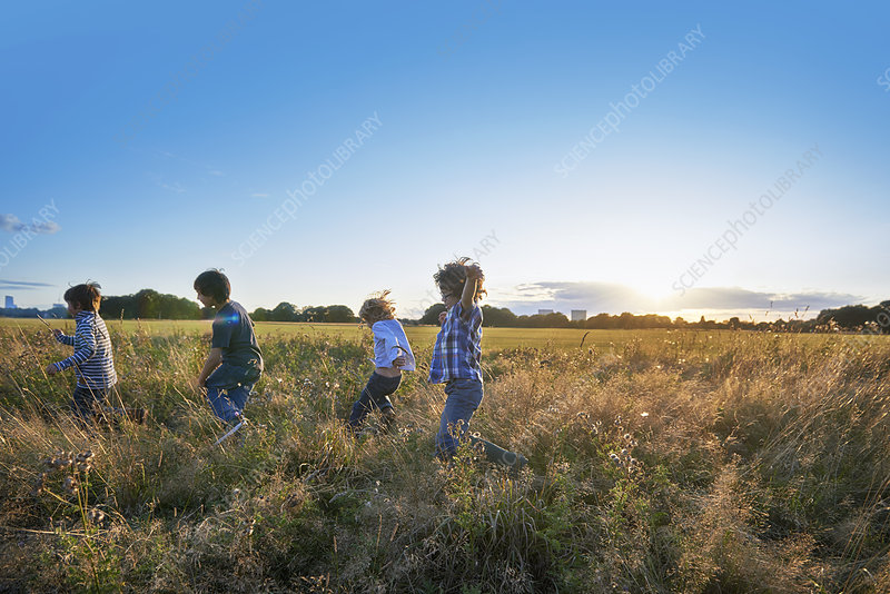 Family out walking in the park