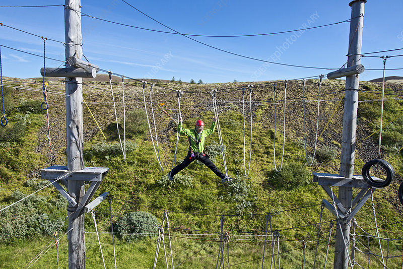 Man on high rope course