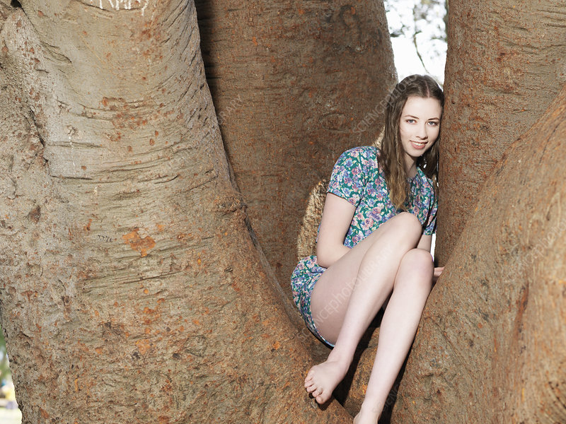 Young woman sitting in tree