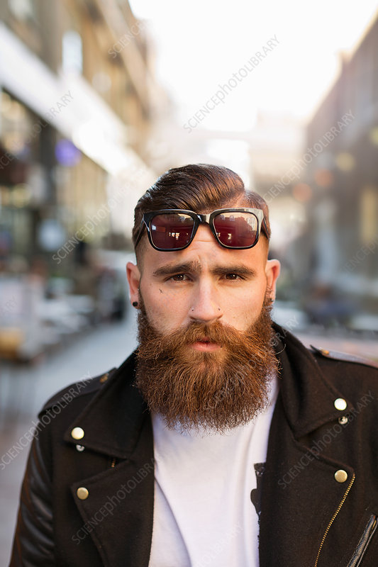 Bearded young man with sunglasses