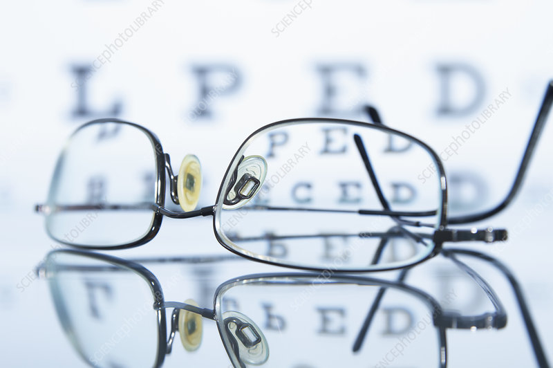 Myopic spectacles with Snellen eye chart