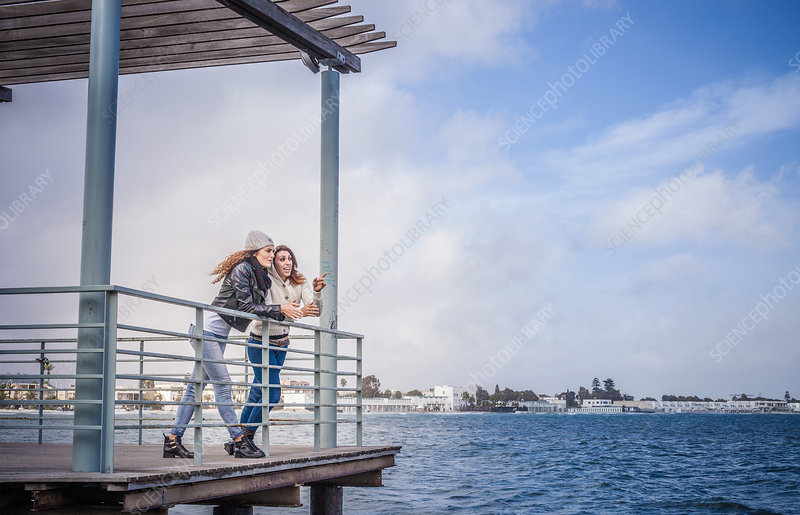 Friends leaning on sea pier railings