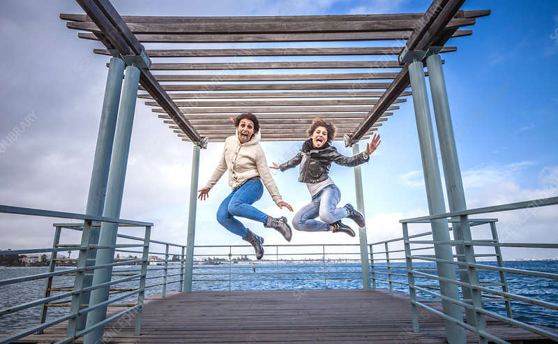 Friends jumping in unison on sea pier