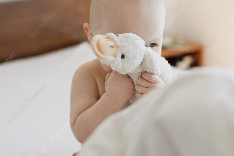 Girl hiding behind soft toy