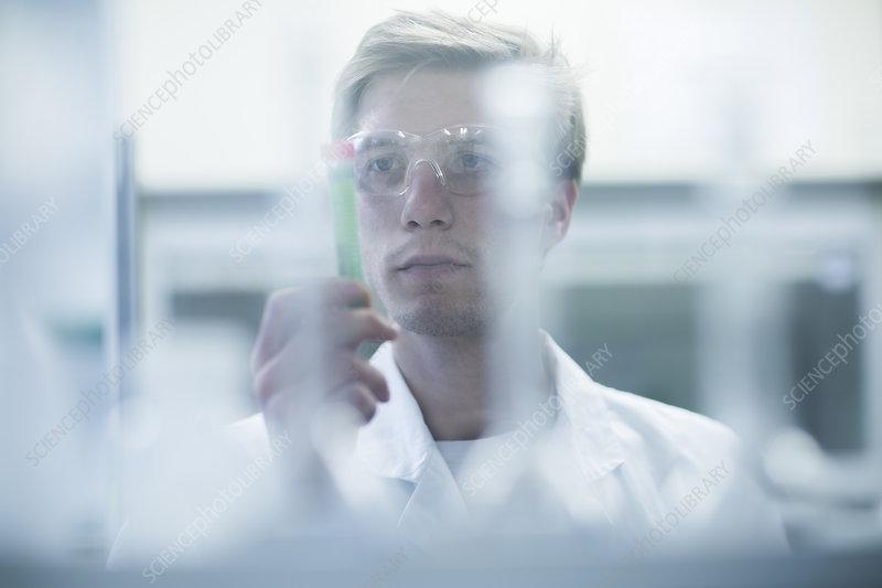 Male scientist scrutinizing test tube