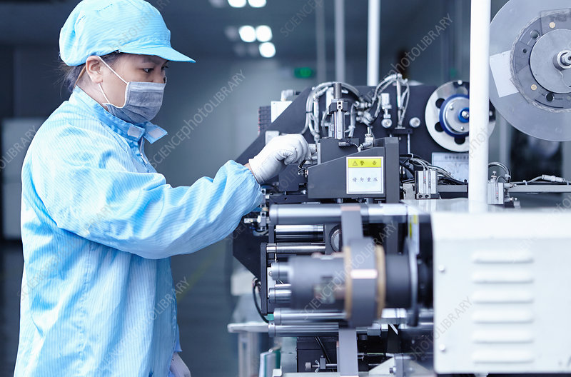 Worker at e-cigarettes battery factory