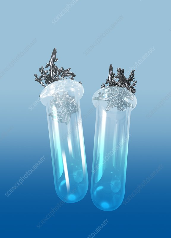 Two test tubes with metal, illustration