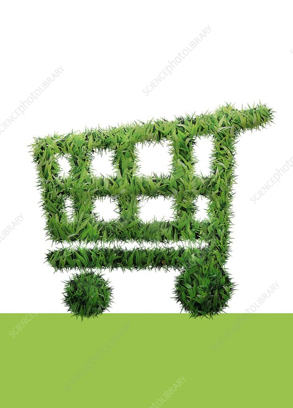 Grass shopping trolley, illustration